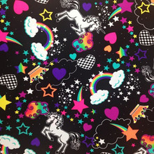 Printed Spandex Fabric: Stretch Fabric - Unicorn's and Rainbows Novelty Print Four way Stretch Fabric Black
