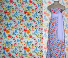 English Garden Floral Print Tricot with Sample Dress on Mannequin
