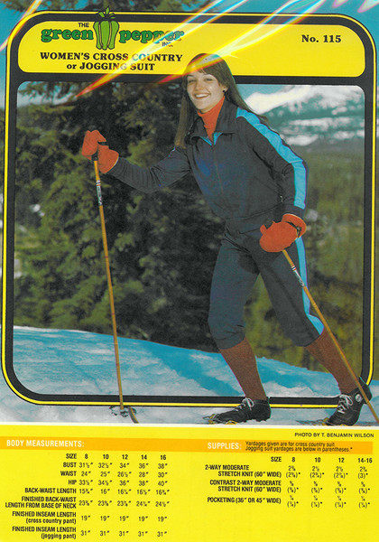 Sewing Pattern - Cross Country Ski Suit or Jogging Suit Green Pepper Patterns