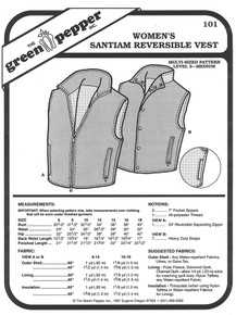 Sewing Pattern - Women's Santiam Reversible Vest Green Pepper Patterns