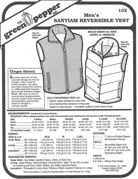 Sewing Pattern - Men's Santiam Reversible Vest Green Pepper Patterns