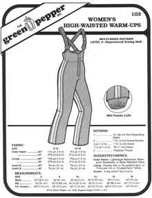 Sewing Pattern - High-Waisted Warm-up Snow Pants Green Pepper Patterns