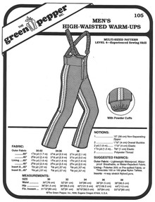 Sewing Pattern, Men's High Waisted Ski Pants with Suspenders Green Pepper Patterns