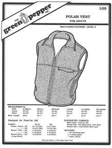 Sewing Pattern - Unisex Polar Fleece Vest Zipper up with Front Pocket Green Pepper Patterns