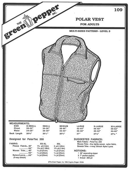 Sewing Pattern - Unisex Polar Fleece Vest Zipper up with Front Pocket Green Pepper Patterns