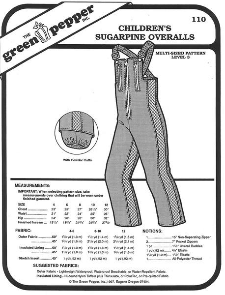 Sewing Pattern - Children's Sugarpine Ski Overalls or Snow Overalls Green Pepper Patterns