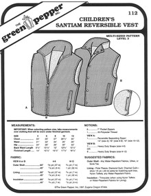 Sewing Pattern - Children's Reversible Vest with Zipper or Buttons, Saintaim Vest by Green Pepper Patterns