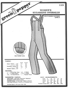 Sewing Patterns: Women's Sugarpine Overalls, Snow Pants, Ski Pants Green Pepper Patterns