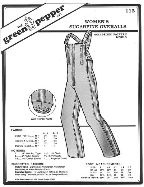 Sewing Patterns: Women's Sugarpine Overalls, Snow Pants, Ski Pants Green Pepper Patterns