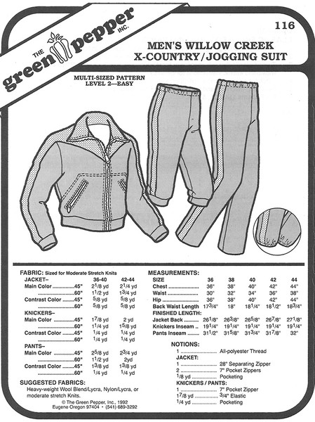 Sewing Pattern - Men's Willow Creek Cross Country Ski Suit and Jogging Suit by Green Pepper Patterns