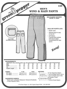 Sewing Pattern: Men's Wind and Rain Jogging or Winter Outdoors Pants Green Pepper Brand