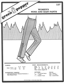 Sewing Pattern: Women's Wind and Rain Jogging or Winter Outdoors Pants Green Pepper Brand
