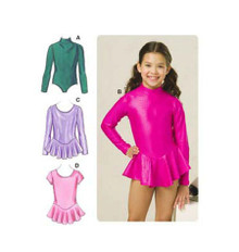 Sewing Pattern - Childrens Pattern for Leotard Pattern with Attached Skirts Four Views - Kwik Sew #K3507