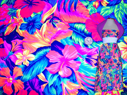 Printed Spandex Fabric: Tahitian Floral Print Four way Stretch Fabric with Dress Sample