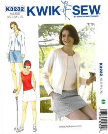Sewing Pattern - Misses Pattern, Skort Pattern, Tops Pattern, Cardigan Pattern Kwik Sew #K3232