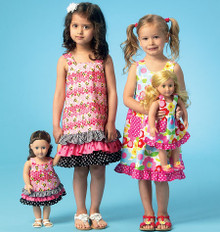 Sewing Pattern - Girls Dresses in Two Views with Matching Doll Dress Pattern Kwik Sew # K4039