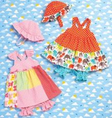 Sewing Pattern - Baby Dress, Bloomers and Hat in Two Views Kwik Sew # K0168