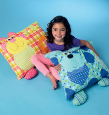 Sewing Pattern - Children's Craft Pattern Large Pillow Kitty and Puppy, Kwik Sew # K0171