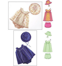 Sewing Pattern - Infant Pattern, Baby Pattern, Sundress Pattern, Bloomers Pattern, Hat Pattern - Kwik Sew #K3689