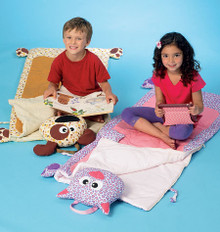 Sewing Pattern - Children's Craft Pattern Fold Up Kitty and Puppy Sleeping Bag, Kwik Sew # K4047