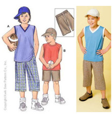 Sewing Pattern - Boys Pattern, Shorts Pattern, Shirts Pattern, Hat Pattern, Kwik Sew #K3398