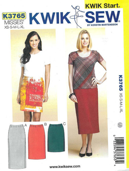 Sewing Pattern - Misses Pencil Skirts in Three Lengths - Kwik Sew Pattern # K3765