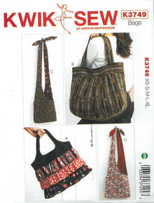 Sewing Pattern - Designer Bags in Three Views and Multiple Sizes Kwik Sew Patterns # K3749