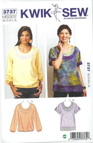 Sewing Pattern - 80's Retro Inspired Pull Over Tops with Scoop Neckline and Artistic Detailing in Two Views - Kwik Sew # K3737