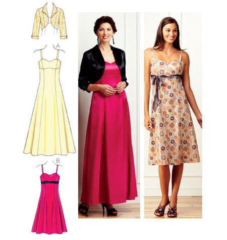 Sewing Pattern - Misses Pattern, Formal Dress Pattern in Two Views, Bolero Pattern #K3736