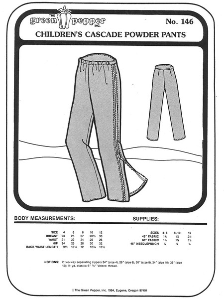 Sewing Pattern - Children's Snow Suit and Ski Suit Black Butte Jumpsuit Pattern, Green Pepper Patterns