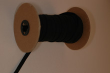 "1/2"" Braided Elastic - Black Wide Polyester on Roll"