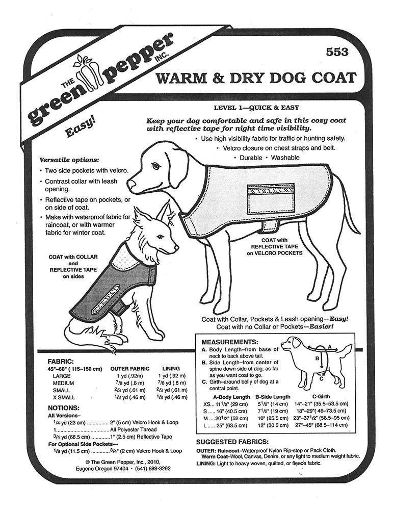 Sewing pattern craft pattern pet pattern pet coat dog coat green
