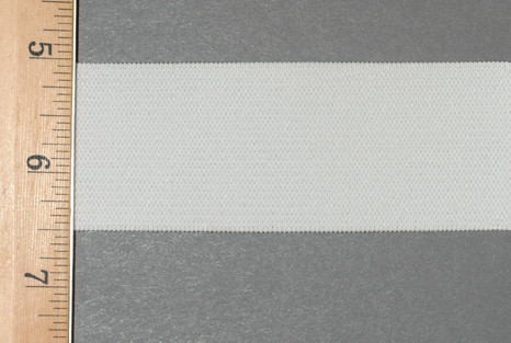 "1 1/2"" Wide Knit Elastic - Wide Knit Elastic by the Yard in White Laid Flat with Ruler to Show Width"
