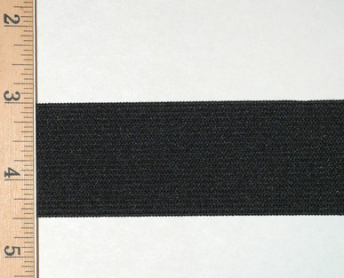 "1 1/2"" Wide Knit Elastic - Wide Knit Elastic by the Yard in Black Laid Flat with Ruler to Show Width"