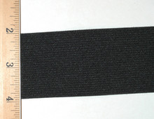"2"" Wide Knit Elastic - Wide Knit Elastic by the Yard in Black Laid Flat with Ruler to Show Width"