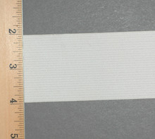 "2"" Wide Knit Elastic - Wide Knit Elastic by the Yard in White Laid Flat with Ruler to see Width"