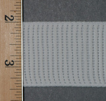 "Non-Roll Elastic White-1 1/2"" Wide Laid Flat with Ruler to Show Width"
