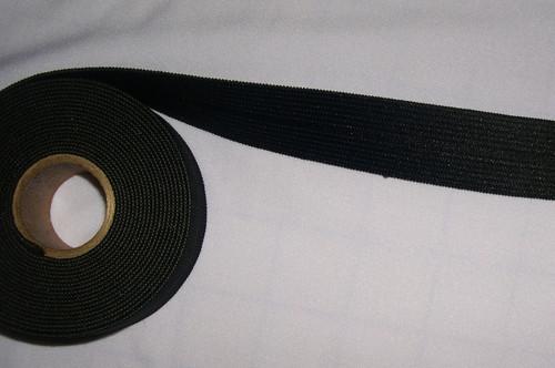 "1"" Foldover Elastic - Black Knit Foldover Sports Elastic"