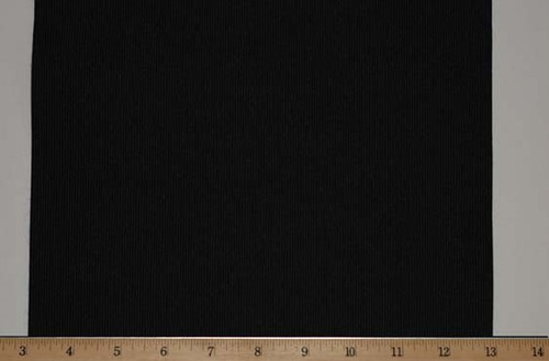 "Extra Wide Elastic - Polyester Rubber Knit -10"" Wide Black Laid Flat with Ruler to Mark Width"