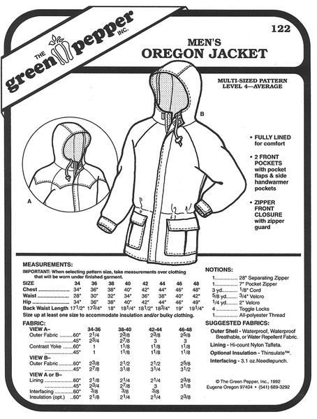 Sewing Pattern - Unisex Pattern, Jacket Pattern, Coat Pattern