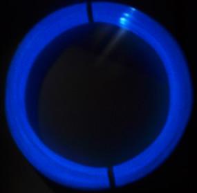 Glow Blue ABS 100g sample glowing