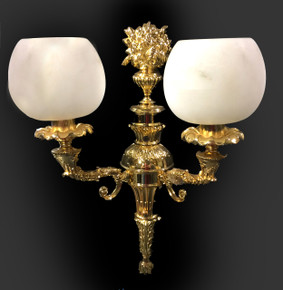 Alabaster 24K Gold Double Sconce