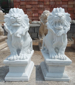 PR - Sitting Lions - White Marble