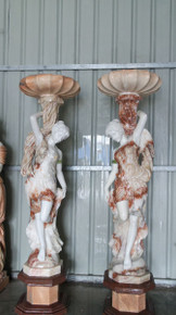 Pair of Woman Planters In Multi Colored Marble 17627