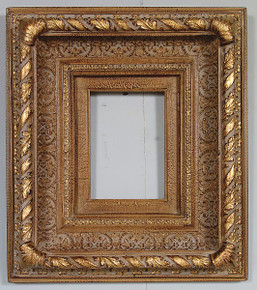 Large Gold Foliate Frame 05X07 Antique Crackle with Liner