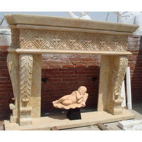 Travertine Quatrefoil Mantel