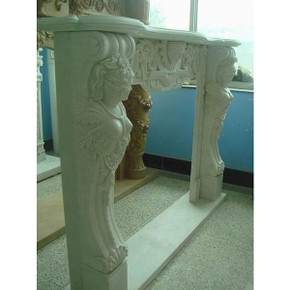 Wht Marble Figural Mantel (41x36)