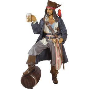 Caribbean Pirate Life Size Statue with Rum & Parrot