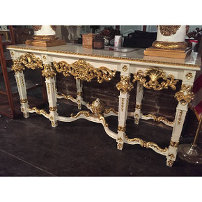 Console - French Gold/Wht Marble