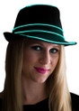 Aqua EL Wire Light Up Fedora Hat